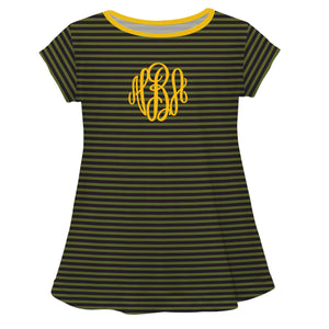 Navy Green Stripe Laurie Top Short Sleeve