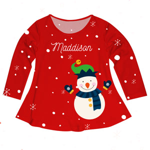 Red long sleeve Laurie top with snowflakes, snowman and name print