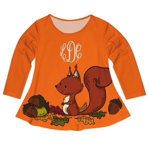 Girls orange squirrel blouse with monogram - Wimziy&Co.