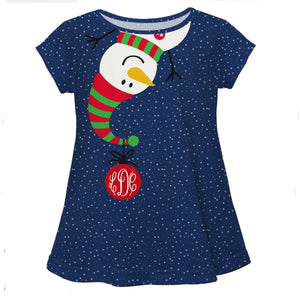 Navy short sleeve Laurie top with snow, snowman and fancy circle monogram