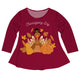Thanksgiving Day Burgundy Long Sleeve Laurie Top
