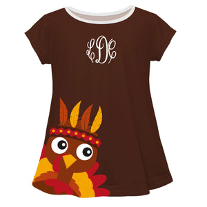 Girls brown big turkey blouse with monogram - Wimziy&Co.