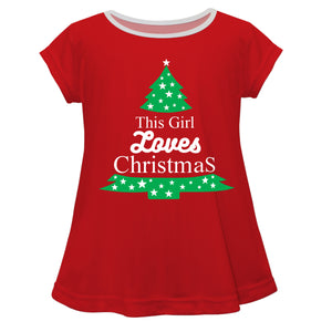Girls red and green christmas tree blouse - Wimziy&Co.