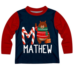 Navy with red long sleeves crew neck top with bear, initial and name