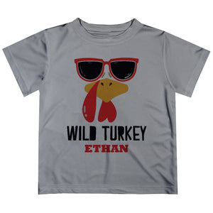 Boys gray turkey tee shirt with name - Wimziy&Co.