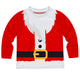 Red long sleeve crew neck top dressed as Santa print