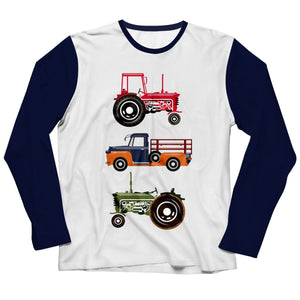 Boys white and blue trucks tee shirt with name - Wimziy&Co.