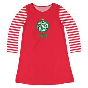 Red with striped long sleeves A Line dress with ornament  and saying