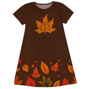 Fall Leaves Monogram Brown Short Sleeeve A Line Dress
