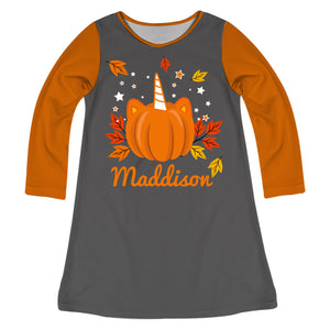 Unicorn Pumpkin Name Gray and Orange Long Sleeve A Line Dress