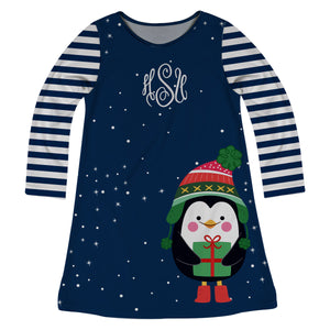 Girls blue penguin dress with monogram - Wimziy&Co.