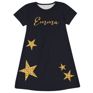 Girls black and yellow stars dress with name - Wimziy&Co.