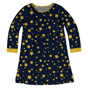 Stars Print Navy And Yellow Long Sleeve A Line Dress
