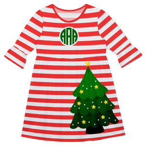 Girls red christmas tree dress with monogram - Wimziy&Co.