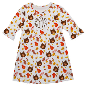 Girls white bears dress with monogram - Wimziy&Co.