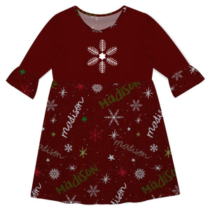Girls red and white snowflakes dress with name - Wimziy&Co.