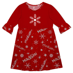 Red three quarter sleeve Amy dress with snowflake and all over snowflakes and name print