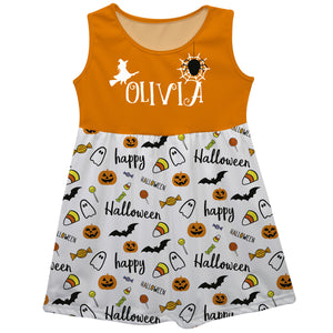 Girls white and orange halloween dress with name - Wimziy&Co.