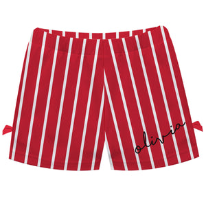Girls red and white striped short with name - Wimziy&Co.