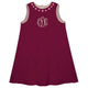 Girls burgundy flowers dress with monogram - Wimziy&Co.