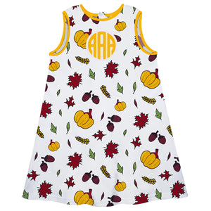 Girls white fall elements dress with monogram - Wimziy&Co.