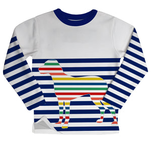 Stripe Dog Crewneck Sweatshirt With Side Vents