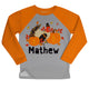 Thanksgiving Name Gray Orange Crewneck Sweatshirt Side Vents