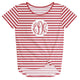 Girls red and white striped blouse with monogram - Wimziy&Co.