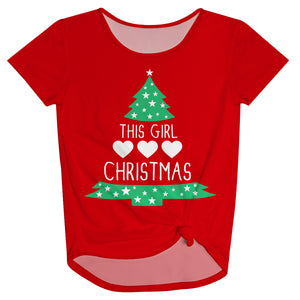 Girls red christmas tree blouse - Wimziy&Co.
