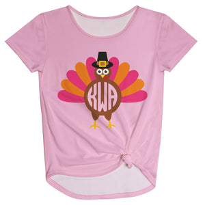 Girls pink turkey blouse with monogram - Wimziy&Co.
