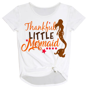 Thankful Little Mermaid White Knot Top
