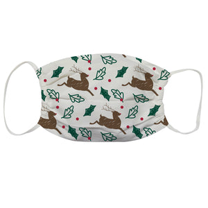 Reindeer Print White Face Mask - Wimziy&Co.