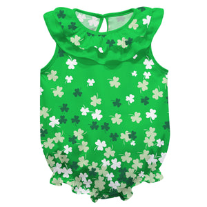 Clovers Print Green Sleeveless Onesie - Wimziy&Co.