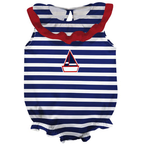 Sailboat Navy Stripe PP Girls Sleeveless Onesie - Wimziy&Co.
