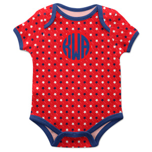 Stars Print Monogram Red Short Sleeve Onesie - Wimziy&Co.