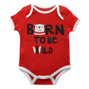 Boys red born to be wild short sleeve onesie