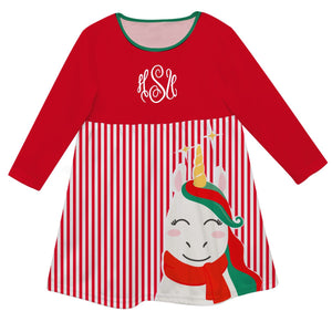 Red an white big unicorn epic striped dress with monogram - Wimziy&Co.