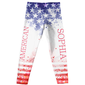 Americana Name Red White and Blue Leggings - Wimziy&Co.