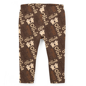 Girls brown bears leggings with name - Wimziy&Co.