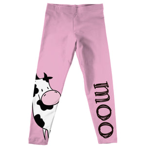 Pink and white cow moo girls leggings - Wimziy&Co.
