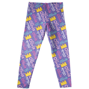 Purple leggings with crowns and name - Wimziy&Co.