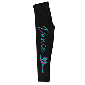 Black and multicolor dancer silhouette girls leggings