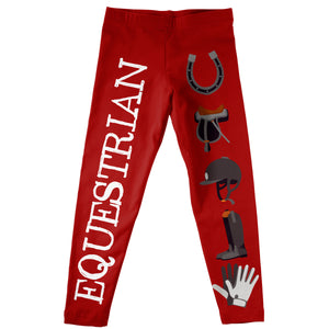 Red and white equestrian elements girls leggings - Wimziy&Co.