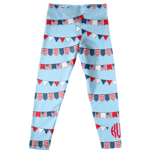 Flags and Monogram Light Blue Leggings - Wimziy&Co.
