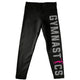 Black and pink gymnast silhouetter girls leggings