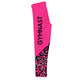 Hot pink and black gymnast girls leggings with name