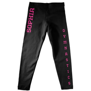 Black and pink gymnastics girls leggings with name
