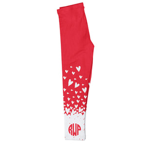 Hearts Monogram Red Leggings - Wimziy&Co.