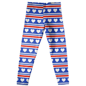 Hearts Print White Red And Blue Leggings - Wimziy&Co.