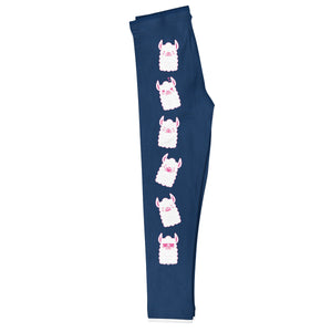 Navy and white llamas girls leggings with monogram - Wimziy&Co.